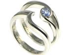 palladium and sapphire engagement and wedding ring set