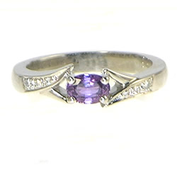 purple sapphire and palladium split band detail engagement ring