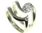 9ct white gold 0.43ct moissanite engagement and diamond wedding ring set