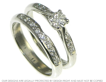 Vintage Styled Platinum And Diamond Engagement And Wedding Ring Set