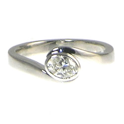 bespoke 9ct white gold engagement ring with h si diamond