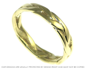 celtic plait wedding band in 14ct yellow gold