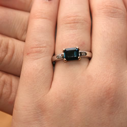 deep ocean blue/green emerald cut tourmaline engagement ring