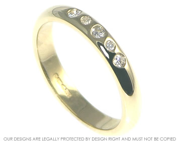 9ct yellow gold and invisibly set diamond modern half eternity ring