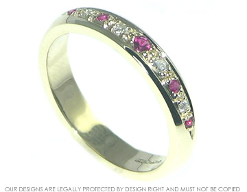 antique inspired 9ct yellow gold, ruby and diamond eternity ring