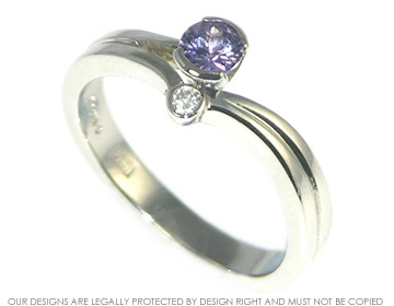 """uniting paths"" inspired lilac sapphire, diamond and platinum engagement ring"