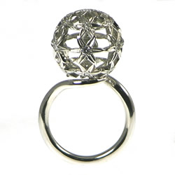 stunning allium flower inspired palladium and diamond engagement ring