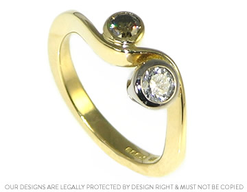 natural congac and white diamond twist engagement ring in 18ct yellow gold