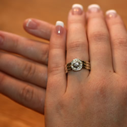 9ct White Gold And Diamond Engagement Wedding And Eternity Ring Set