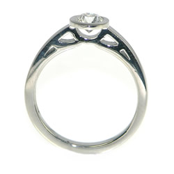 palladium and 0.44ct diamond solitaire with cutwork side detailing