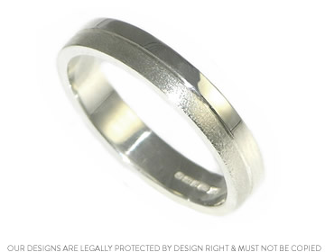 sterling silver contrasting finish handmade wedding ring