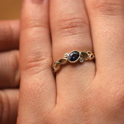 bubble inspired 9ct white gold and sapphire engagement ring