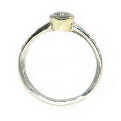 classic delicate 9ct white gold diamond ring with pave shoulders