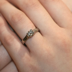 recycled diamond and 18ct fairtrade and fairmined solitaire