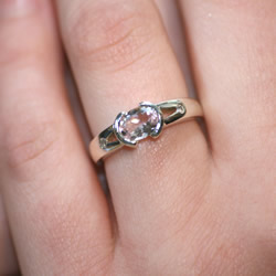unusual morganite and diamond engagement ring made in white gold