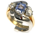 nicola's crashing waves palladium and garnet cage style wedding ring