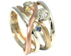 janine's mixed gold, diamond and sapphire commitment ring