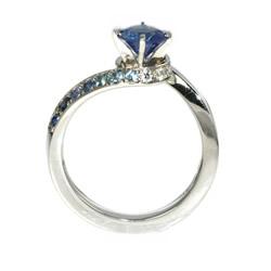 wave inspired platinum sapphire engagement ring