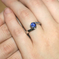 wave inspired platinum sapphire engagement ring