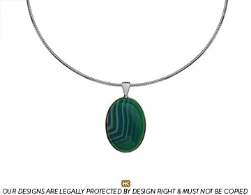 green coloured oval sardonyx and sterling silver pendant