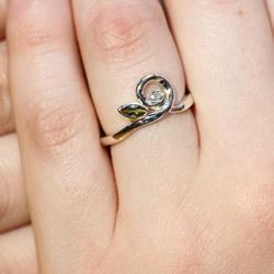 nature inspired tourmaline and diamond engagement ring