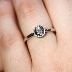 rose inspired diamond engagement ring with engraved detail