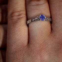 beautiful flower inspired tanzanite and diamond engagement ring