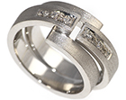 tracey's unqiue palladium and diamond wedding ring set