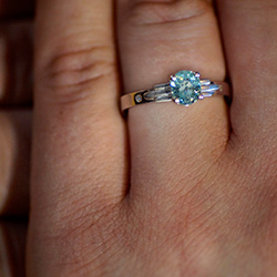 sea foam green tourmaline art deco inspired engagement ring
