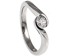 oval cut diamond engagement ring with a flowing twist