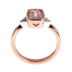 dramatic cushion cut morganite and rose gold engagement ring