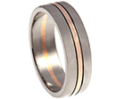 engraved 18ct white and 9ct rose gold wedding ring