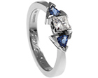 lorna's palladium geometric diamond and sapphire engagement ring