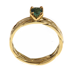 honeysuckle inspired teal tourmaline 14ct yellow gold engagement ring