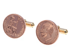 white and rose gold coin inspired cufflinks