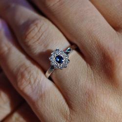 beautiful handmade palladium contemporary sapphire and diamond cluster