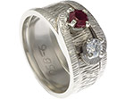 christine's unique handmade 9ct white gold ruby anniversary ring