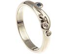 unique white gold, aquamarine and diamond wedding ring