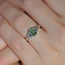 bespoke tourmaline and diamond engagement ring