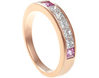 emma's bespoke diamond and sapphire rose gold eternity ring