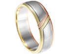 joa's mixed metal wedding ring with engraved lines