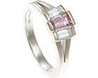 stunningly elegant 9ct white gold pink spinel and diamondring