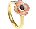 sophie's bespoke poppy inspired ruby and gold engagement ring