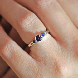 fairtrade 9ct white gold engagement ring with purple spinel, sapphires and diamonds