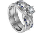 suzi's palladium, diamond and sapphire engagement and wedding ring set
