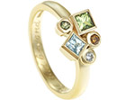 emma's yellow gold, blue and green gemstone eternity ring