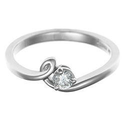 nature inspired 0.14ct diamond and 9ct white gold solitaire
