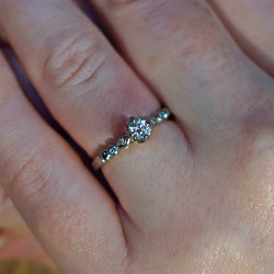 one-off fairly traded 18ct white gold vintage lace inspired engagement ring