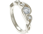 unique handmade fairtrade white gold and diamond engagement ring