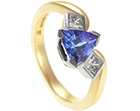 lesley's tanzanite and diamond mixed metal engagement ring